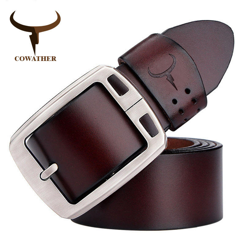 COWATHER cowhide genuine leather belts for men brand Strap male vintage jeans belt 100-150 cm long waist 30-52 XF001