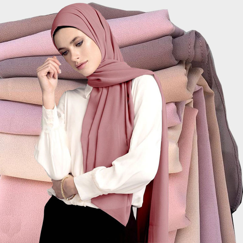 Top Sale Wholesale Bubble Chiffon Shawl Muslim Hijab Fashion Scarf Malaysia Arab Hijab