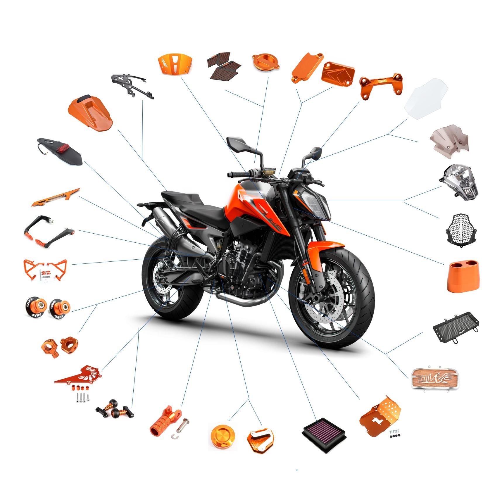 Realzion Chinese Wholesale Customize Motocross Motorcycle Accessories Racing Moto Motorbike Dirtbike Parts For KTM