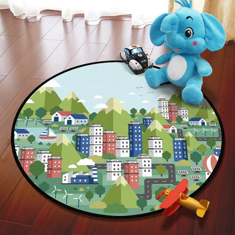 Car Park Traffic Highway Map Kids Crawling Mat City Scene Baby Toys Round Cartoon Children Play Game Mat