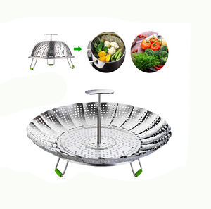 Cheap Factory Price vegetable steamer basket steam pot stainless steel foldable Made In China Low