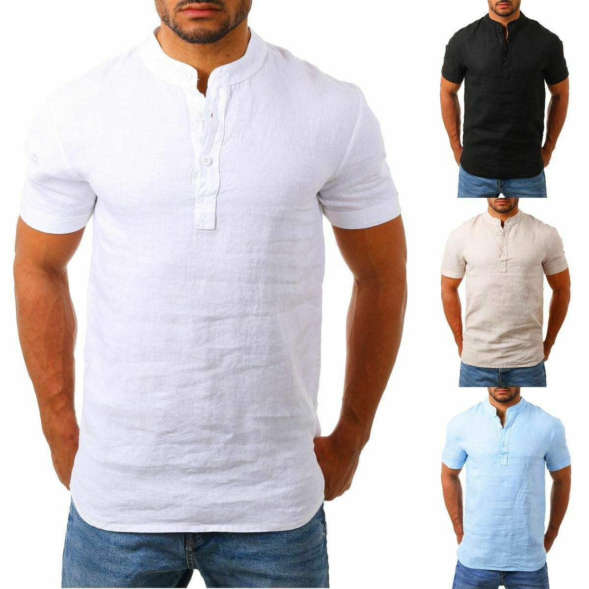 Cross Border Youth Male Clothing Cheap Pulover Shits Plus Size Cotton Linen Light Weight Stand Up Collar Button Up Shirt For Men