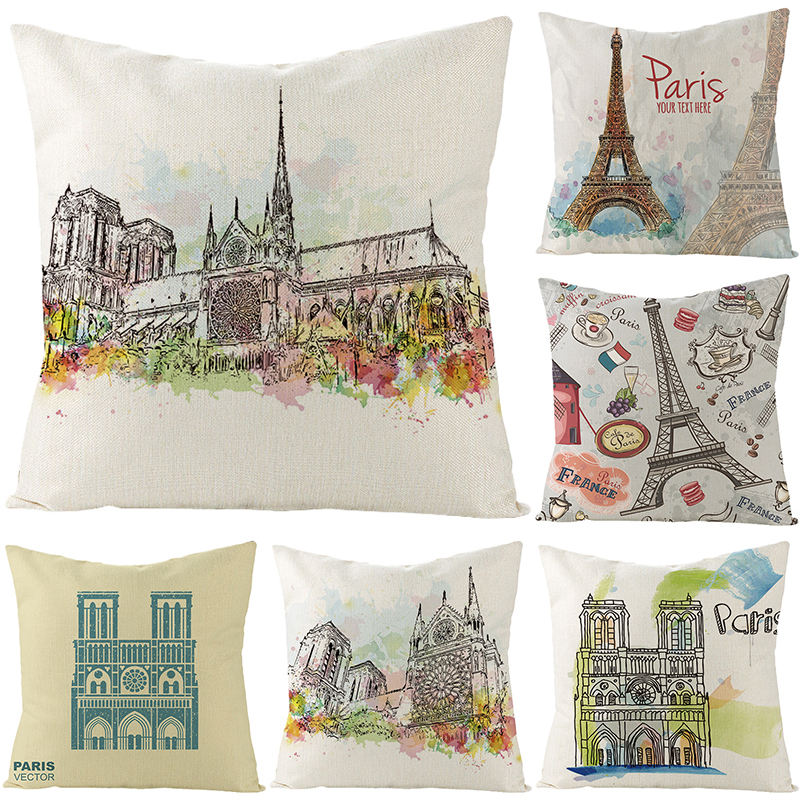 18x18 inches Square Cotton Linen Home Decor Eiffel Tower Paris Decorative Throw Pillow Cushion Covers for Sofa Bed