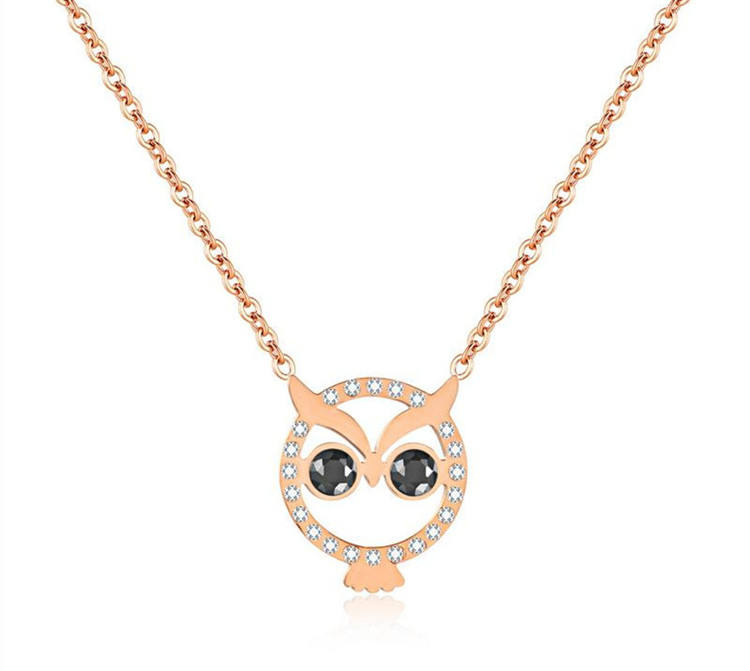 Stainless Steel Adornment Dainty Jewelry Gold Zircon Owl Eye Necklace Pendant for Women