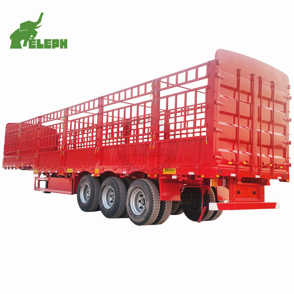 Low price 3 axle 40ton box stake storage fence truck semi trailer for sale