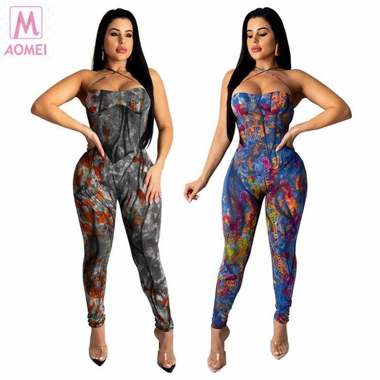 Z1047 Off Shoulder Backless Summer 2020 Ladies Jump Suit Basic Bodysuits Women One Piece Jeans Jumpsuits And Rompers For Woman