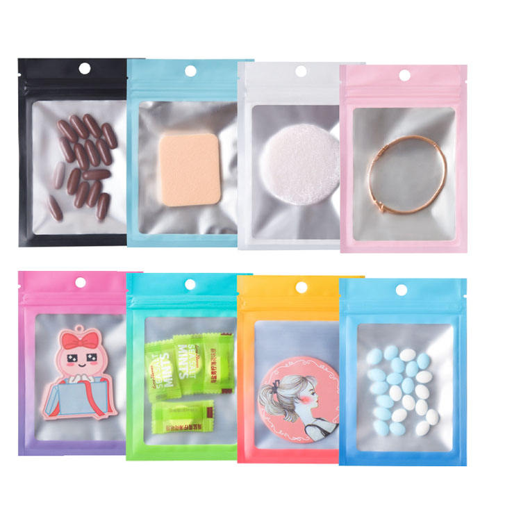 In Stock Resealable Mylar Zip lock Food Storage Bags Small Ziplock Packaging with Window For Food Self Sealing Storage