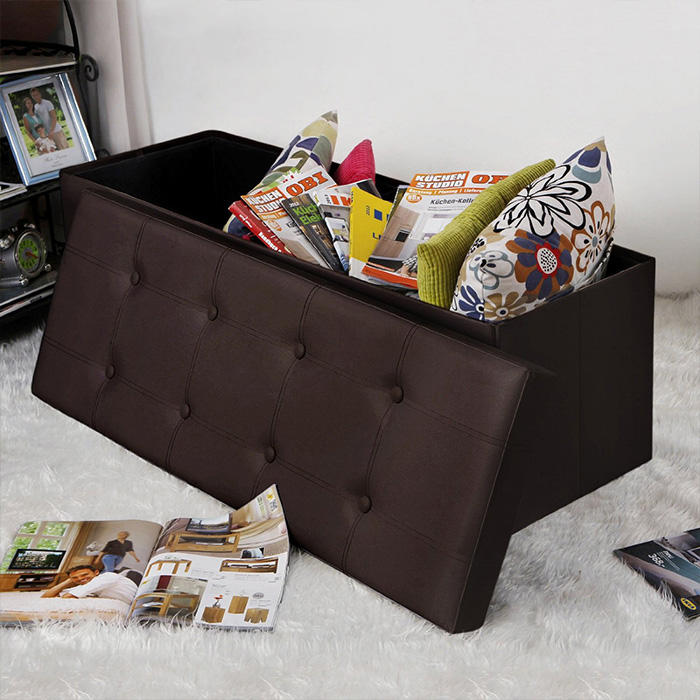 Nice Manufacturer Accept Customization Foldable Leather Storage Ottoman Bench