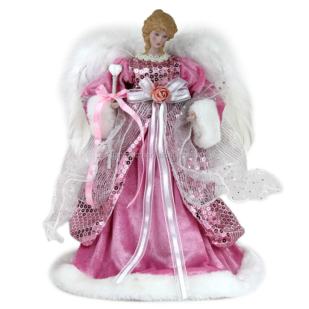 40cm New Christmas Decoration Tree Top Angel in pink sequins with white Feathers Xmas wholesale Ornaments Holiday Figurine