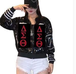 Black Sequin Red Black DST Letters Sorority Sequin Jackets Baseball jackets Delta Jacket