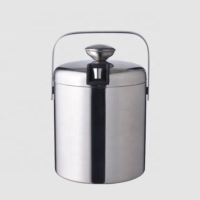 Factory Direct 1.3L small double wall insulated metal ice barrel cooler stainless steel wine champagne beer ice buckets with lid