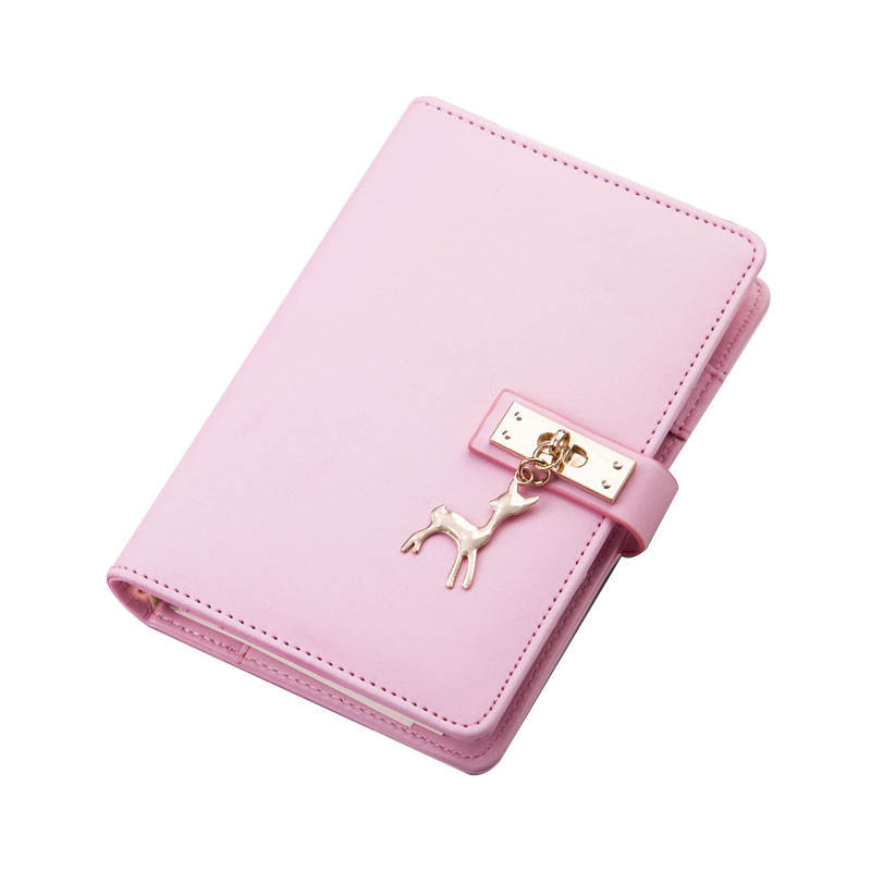 Custom Personalized Pink PU Leather Cover Loose Leaf Lock Diary Notebook