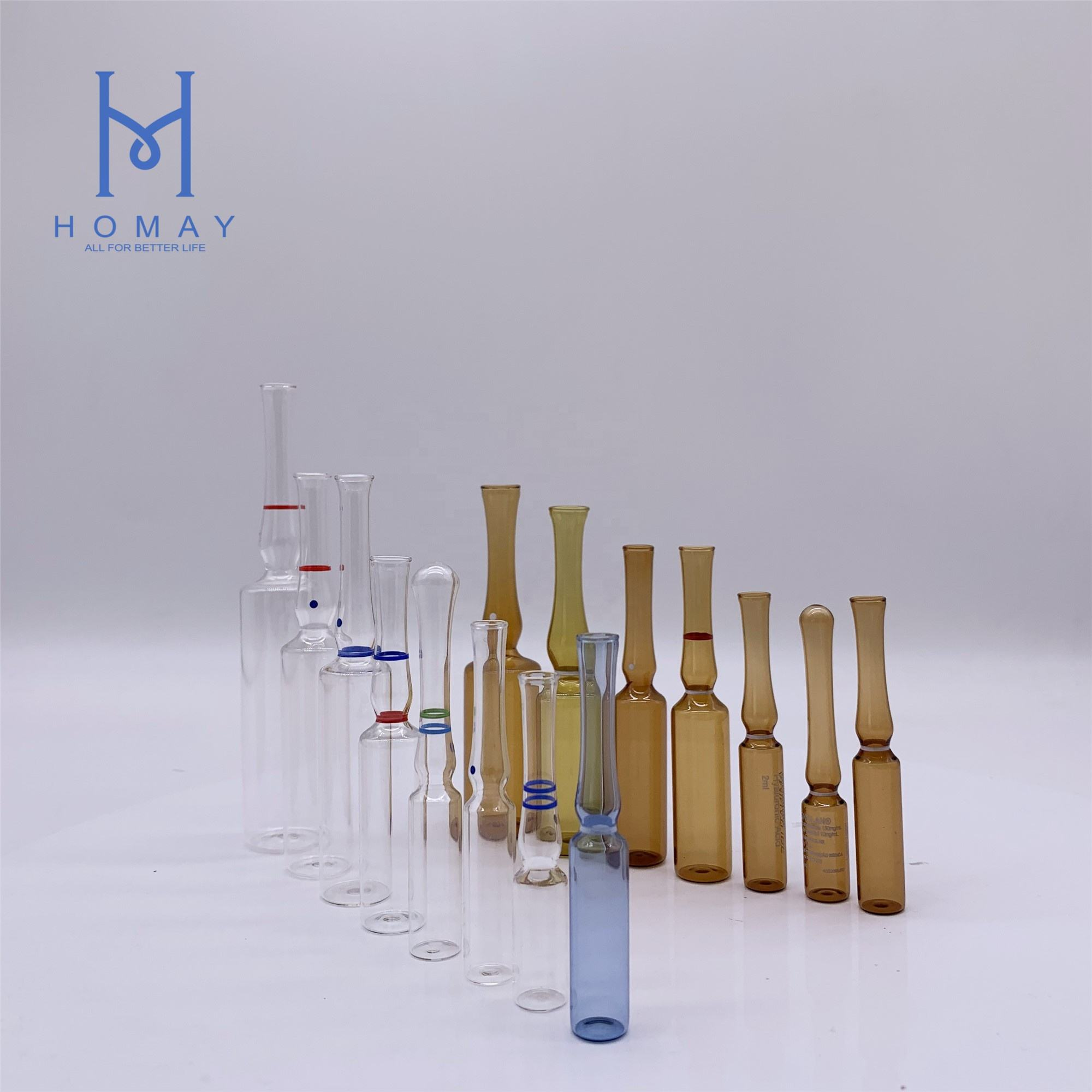 Pharmaceutical 2ml empty glass ampoules for injection YBB/ISO Standard 1ml 2ml 3ml 5ml 10ml 20ml
