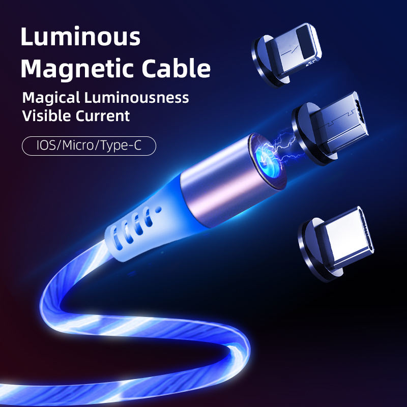 Wholesale on stock 2020 magnetic cable flowing light phone accessories usb cable led luminous mobile charger magnetic micro usb