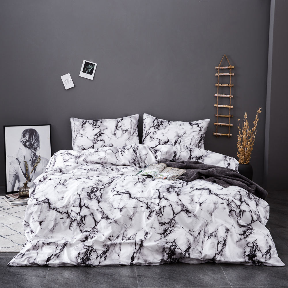 Custom printed bed sheet marble texture quilt cover bedsheet set and duvet covers