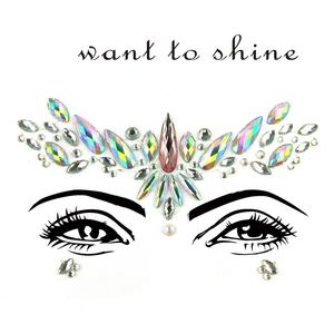 3D Eye Tattoo Stickers Diy Gezicht Crystal Sticker Decoratie Diamant Jewel Tijdelijke Tattoo Prom Club