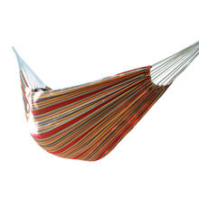 The Red Stripe Brazilian Outdoor Portable Folding Swing Canvas Hammock With Carrying Bag,