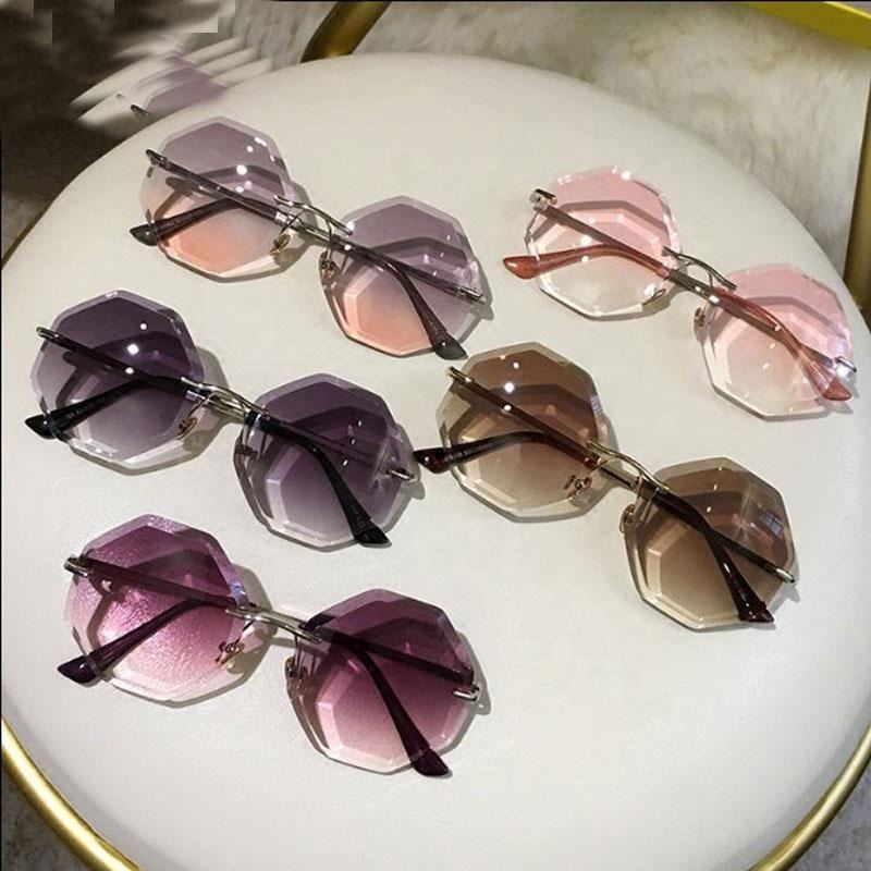 Hot sale lunette de soleil custom irregular transparent pink women sunglasses