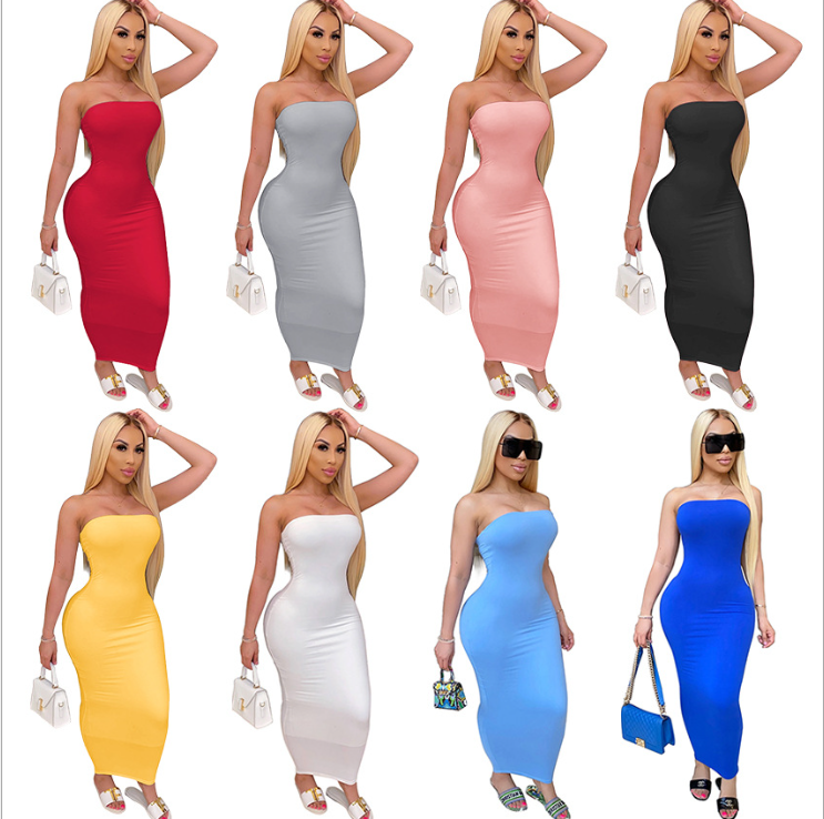 Bunny-M2838 2020 Spring/Summer New sexy dress Hot style tight strapless stretch pencil skirt sun dresses for women dresses
