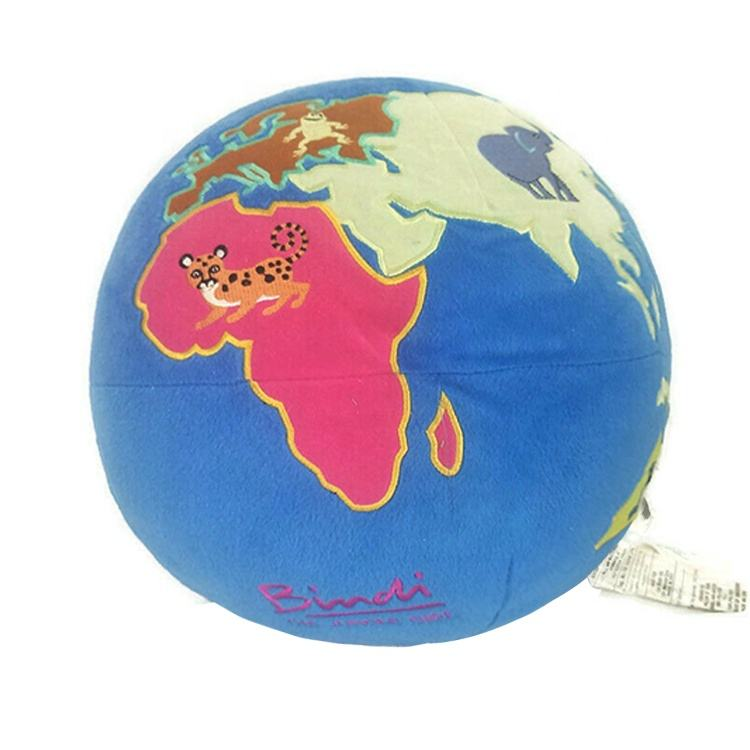 Custom Embroider World Map jungle terrestrial Pillow round space Globe earth planet ball Stuffed Plush toy