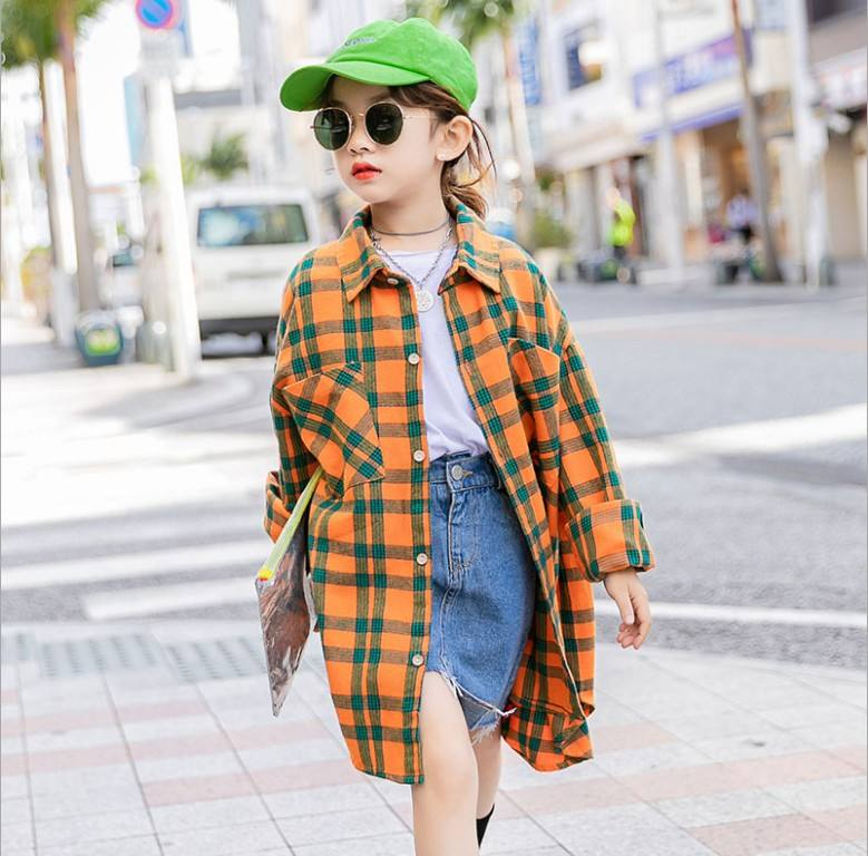 2020 New Spring Fashion Kid Girl Blue Yellow /Green Plaid Blouse with Pocket Autumn Teenager Girl Outdoor Wear Dress Shirt