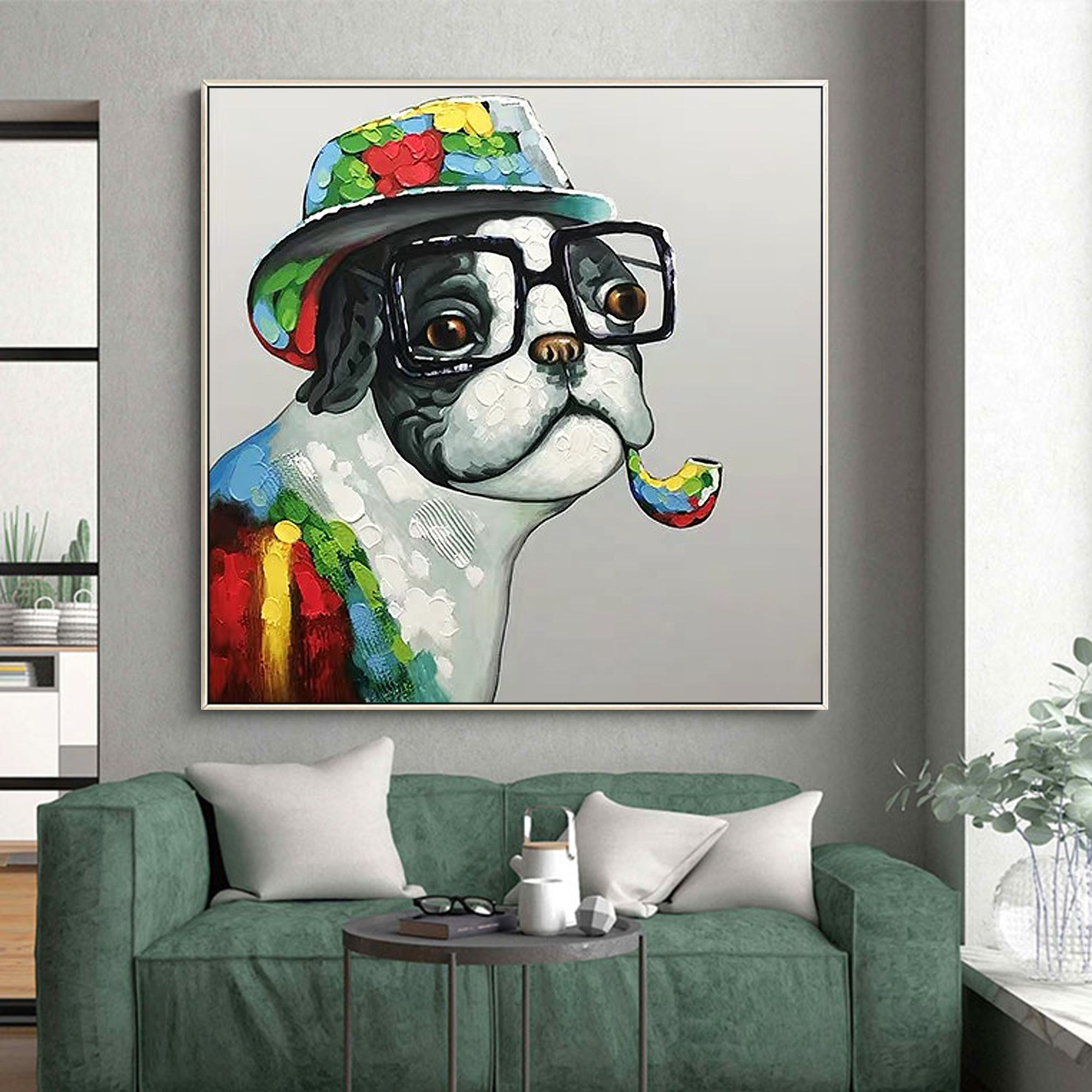 Pop art painting glasses dog handmade yellow red green animal acrylic painting wall Art pictures for living room home decor
