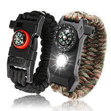 paracord survival bracelet with led flint fire starter/whistle buckles