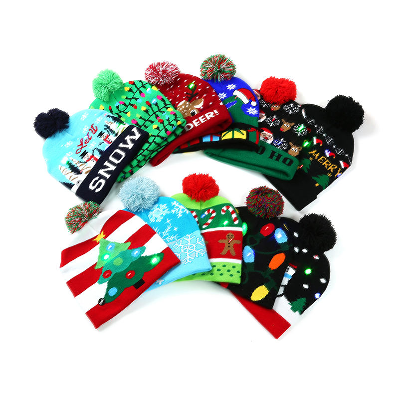 High Quality Knitted Beanie Pom Pom Light Up Led Christmas Light Hat