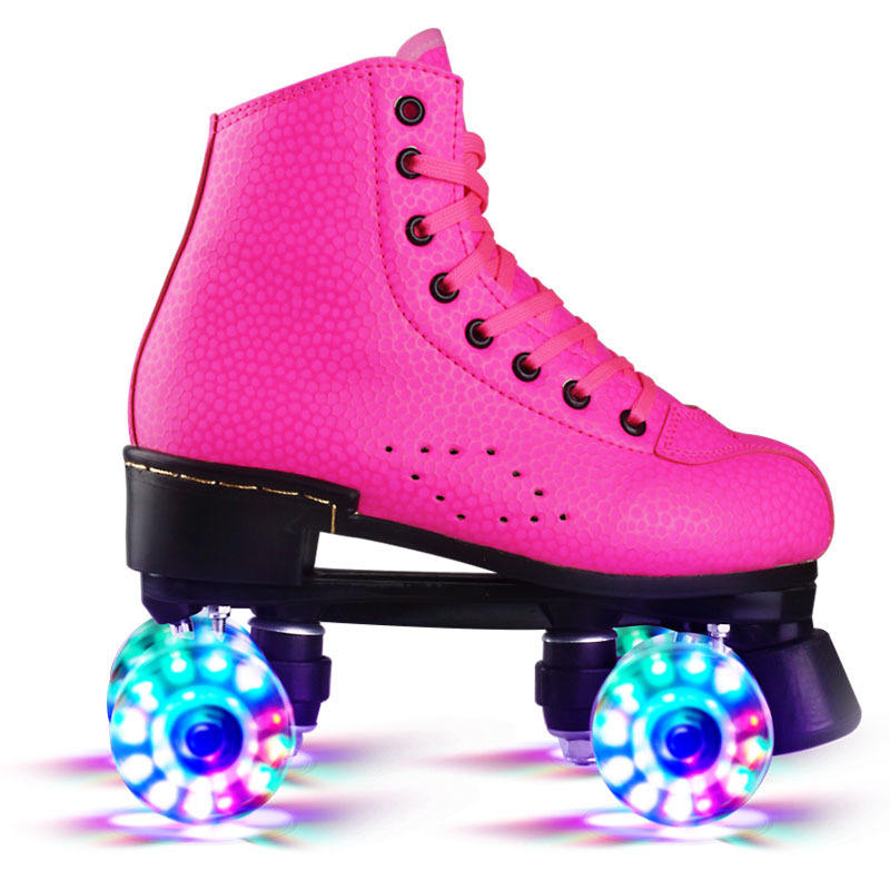 Adult PU leather four wheel skates wholesale double row Pu flash or no flash roller skates