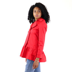 Autumn new fashion red short ladies small windbreaker jacket