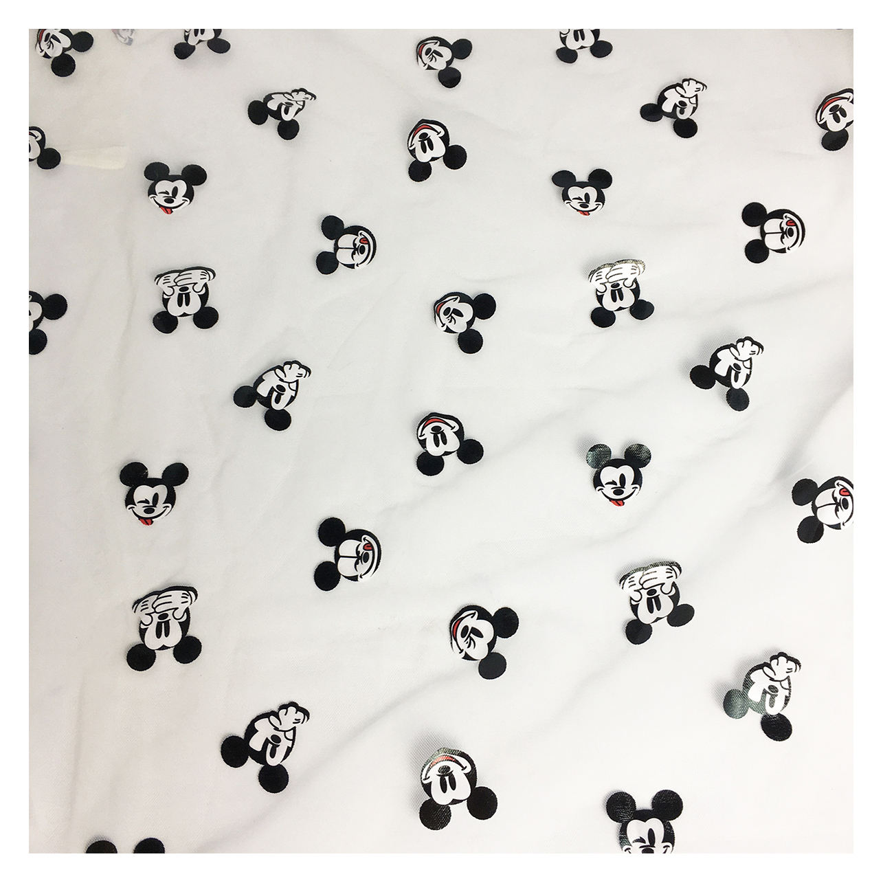 Foil Printed mickey mouse cartoon design printing polyester tulle mesh fabric