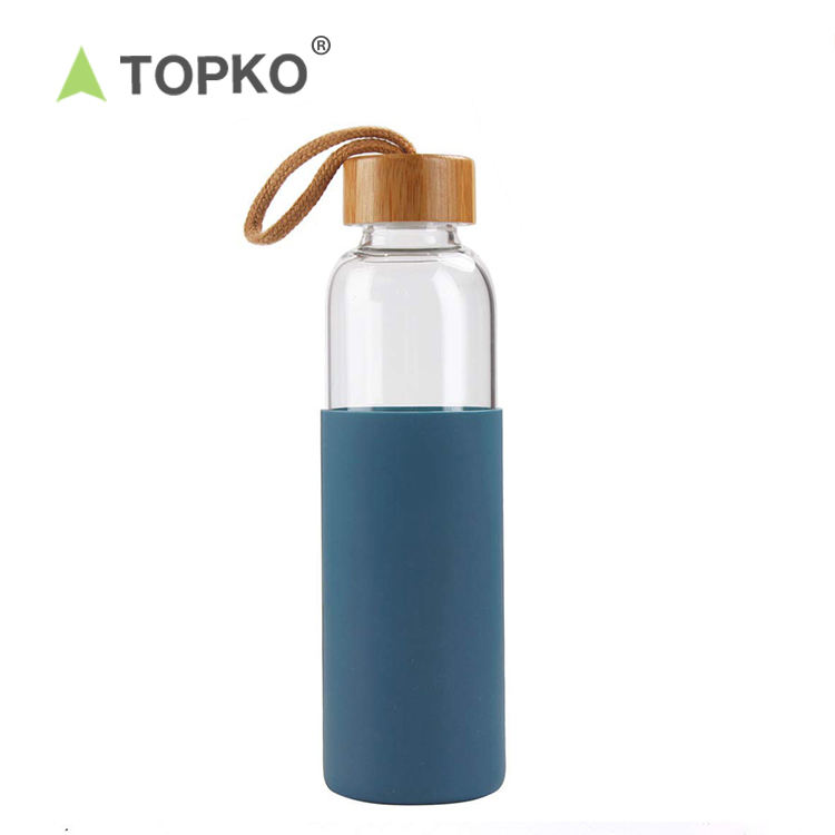TOPKO 550ml eco-friendly bamboo lid silicone sleeve durable borosilicate glass water bottle