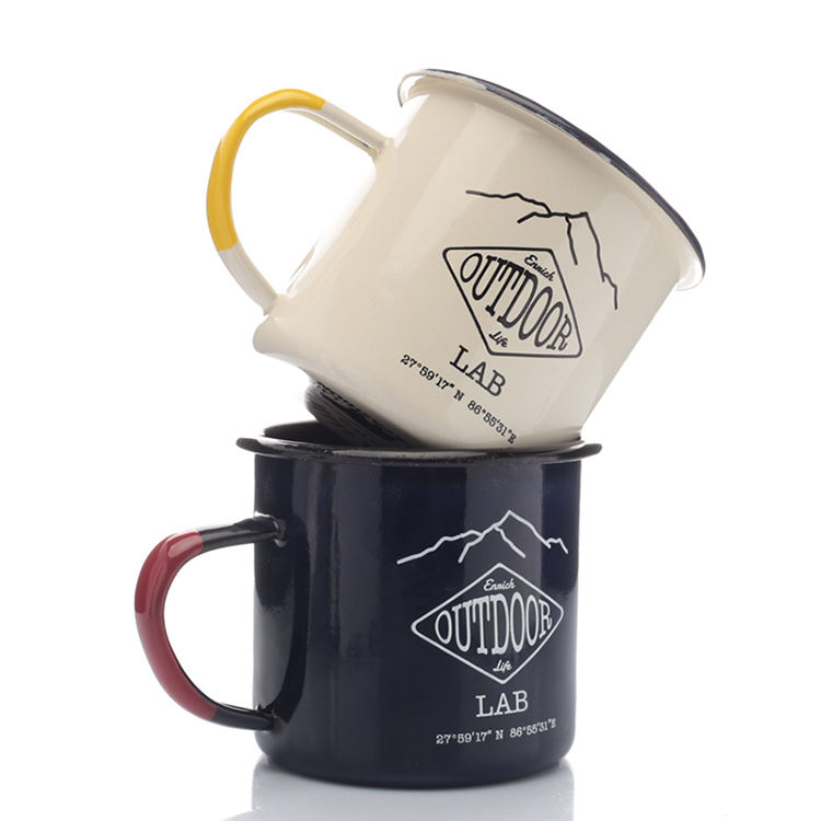 Small Order Customs color Deacal Print Outdoor Enamel Camping Mug 350ml 12oz Enamelware With Side Handle