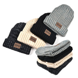 Wholesale Custom Organic Cotton,Wool,Merino Knitted Beanie Hat With Leather Patch