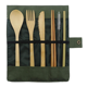 100% Biodegradable Material Portable Reusable Bamboo Travel Cutlery Set with Fork Knife Spoon Chopsticks Straw Cleaning Brush