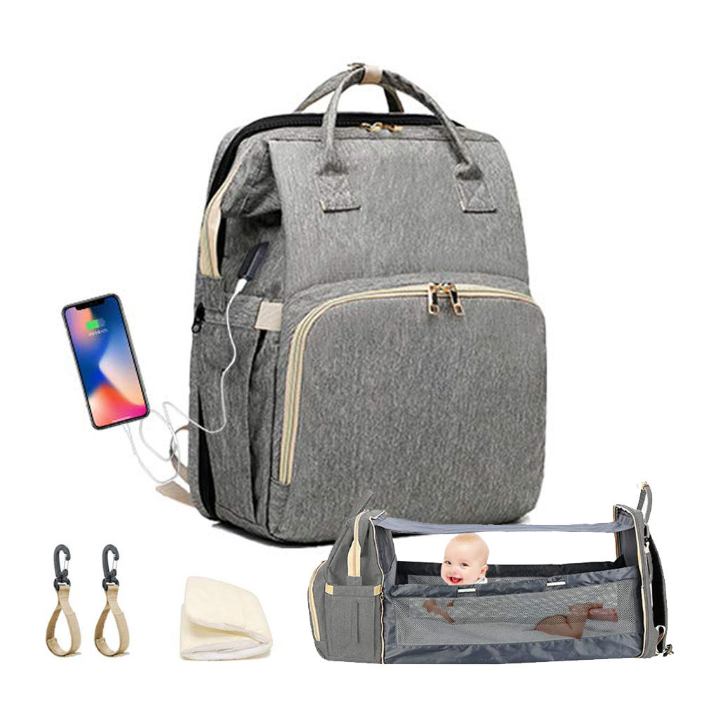 2020 New Hot Multifunction Custom Luxury Large Expandable Changing Bed Mummy Baby Diaper Bag Backpack With USB Charging Port
