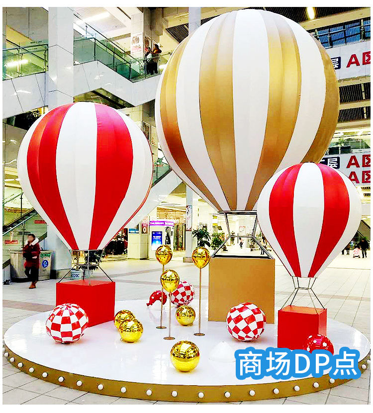 Hot selling New design fiberglass lifesize hot air balloon resin sculpture prop for window display decoration