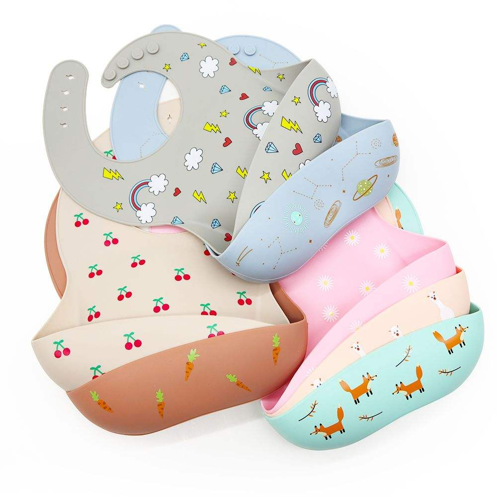 Melikey 100% food grade lightweight teething saliva custom waterproof silicone baby bib
