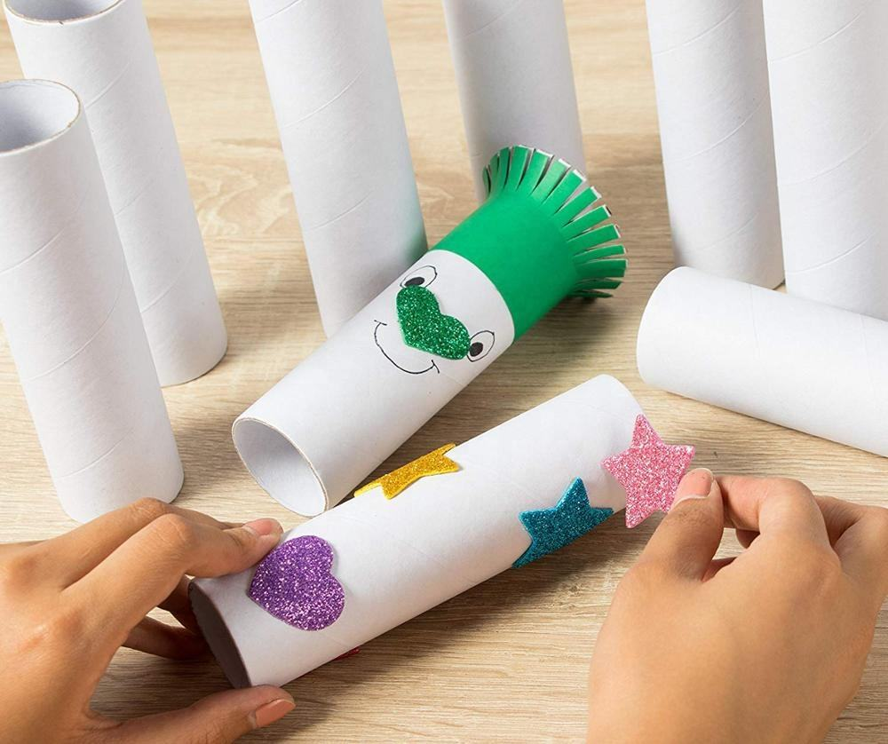 Craft rolls 12 pack cardboard tubes for DIY Crafts white color and glitter tape sticker
