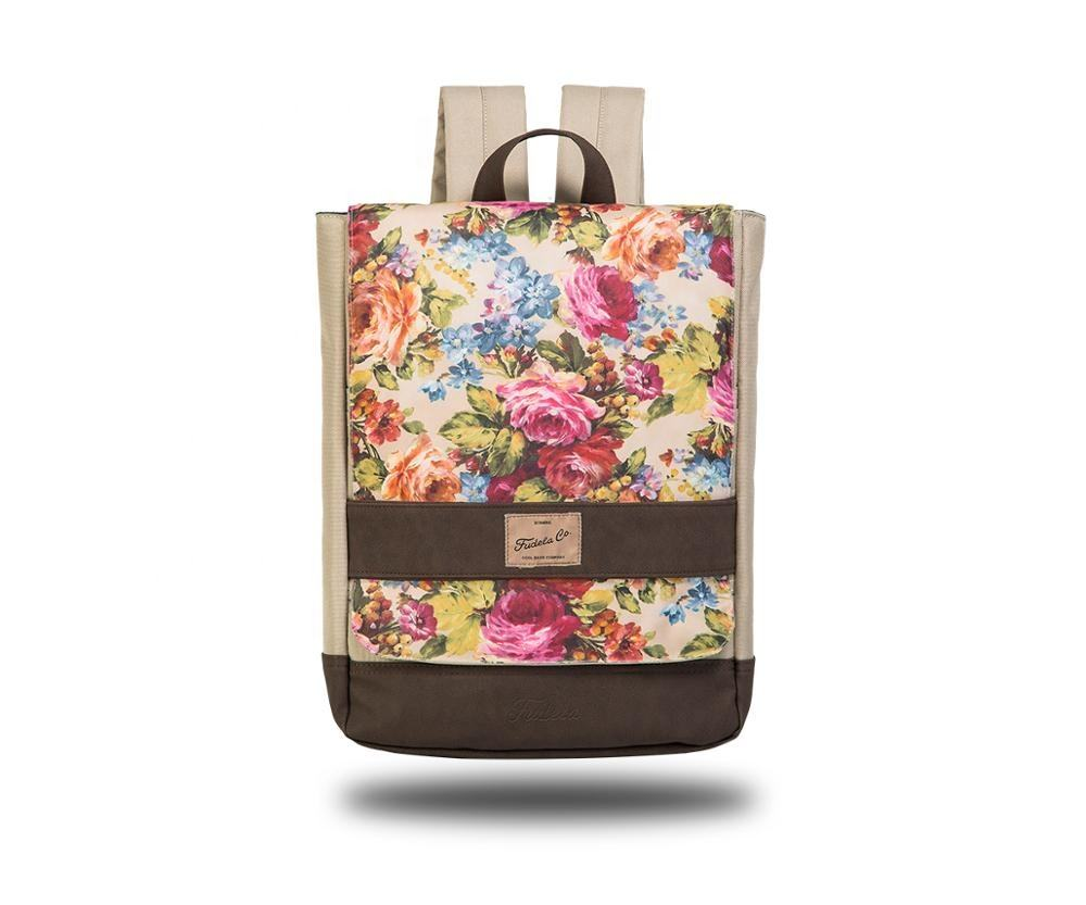 Digital Print Flower Fashional Campus Rucksack Teenage Girl Schoolbag Backpack