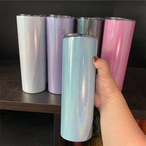 Amazon Hot selling 600ml 20 oz skinny stainless steel vacuum Blanks rainbow glitter sublimation tumbler with Lid and Straw