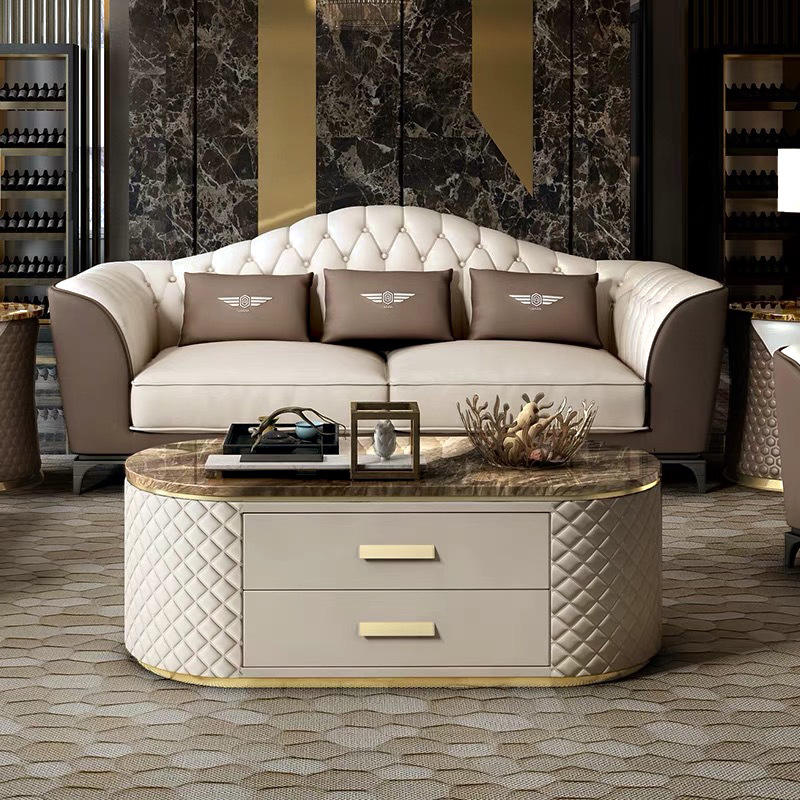 Custom-Made King Size Postmodern Minimalist Hong Kong Style Luxury Leather Sofa Furniture For Living Room