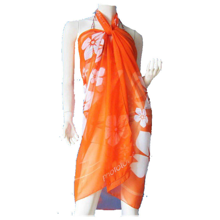 custom design print chiffon sarong pareo for promotions event