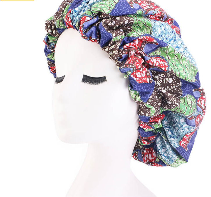 Large Size Satin Lined Double Layer Ankara Bonnet African Pattern Long Hair Sleep Print Fabric Satin Bonnets With Low Price