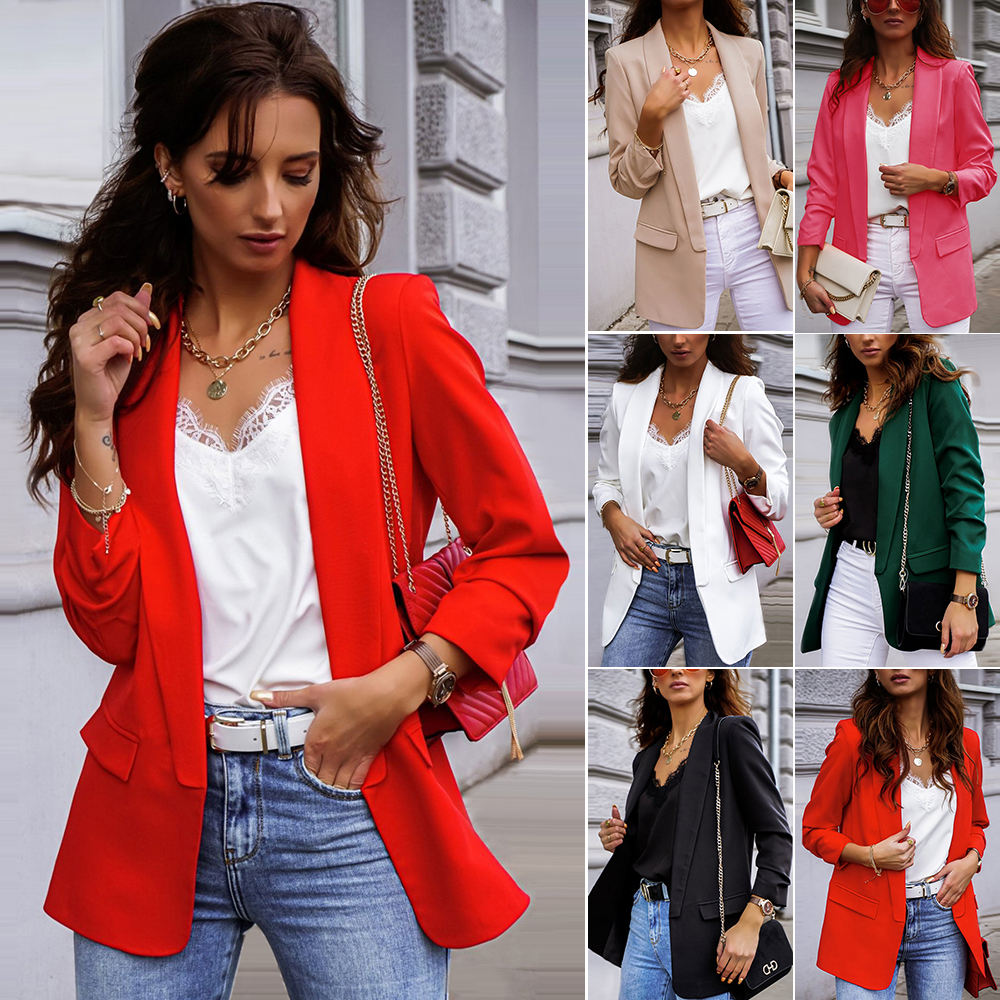 PRETTY STEPS 2020 Autumn Winter Fashion Elegant Notch Collar Women Solid 6 Colors Cardigan Jacket Long Sleeve Open Front Blazer