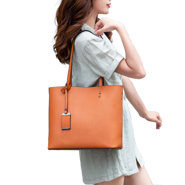 Classic Fashion Women Tote Bag Handbags Criss-cross textured Leather Bag With long Shoulder Strap for office ladies