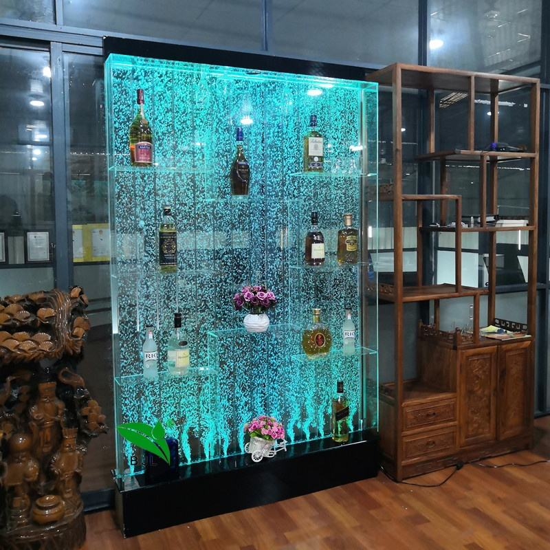 night club,home,party,restaurant led light furniture wine cabinet light up furniture with water bubble wall