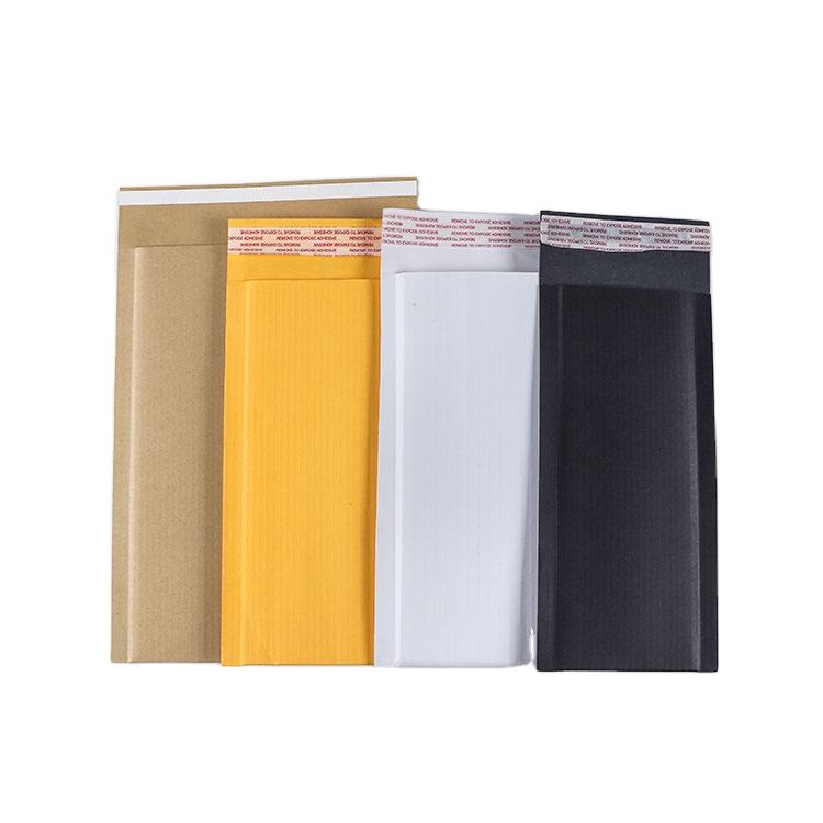 Self adhesive rigid shipping waybill courier pouch document packaging corrugated paper stay flat cardboard mailers
