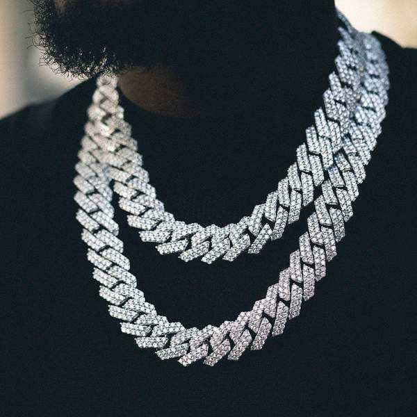 Hip Hop Jewelry 14K Gold Plated Iced Out Cuban Link Chain Paved CZ Prong Diamond Zircon Necklace Cuban Chain