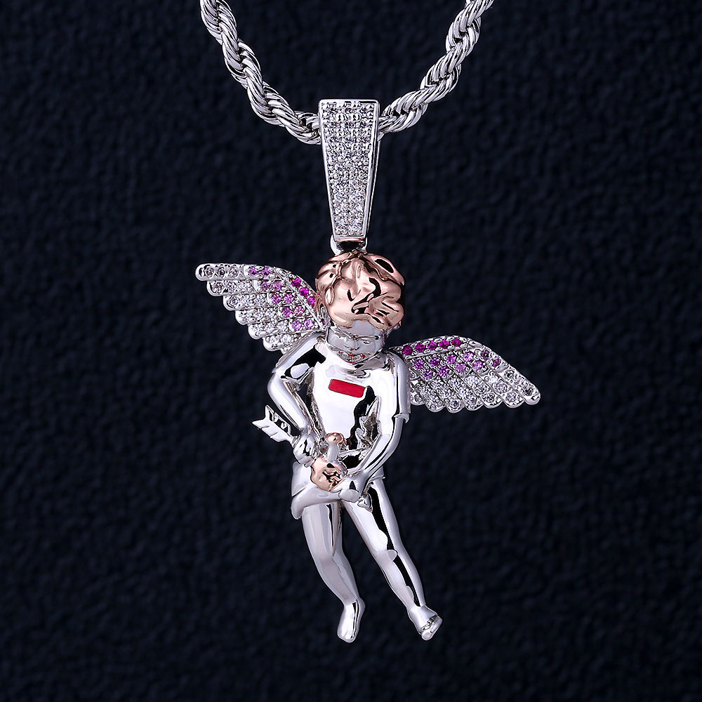 KRKC&CO Iced Out Pave CZ Diamond Angel Wings Pendant 5cm White Gold Plated God Of Love Cupid Pendant Guardian Angel Pendant